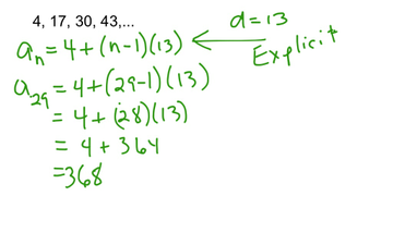 Arithmetic Sequences - Explicit Formula | Educreations